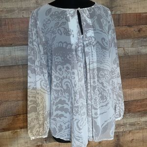 CABi gray and white sheer top, size large